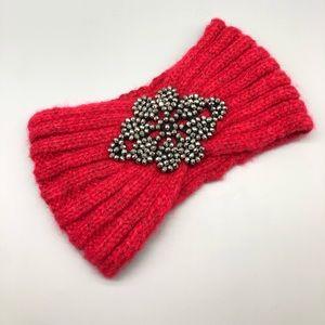 Red knit rhinestone embellished winter headband